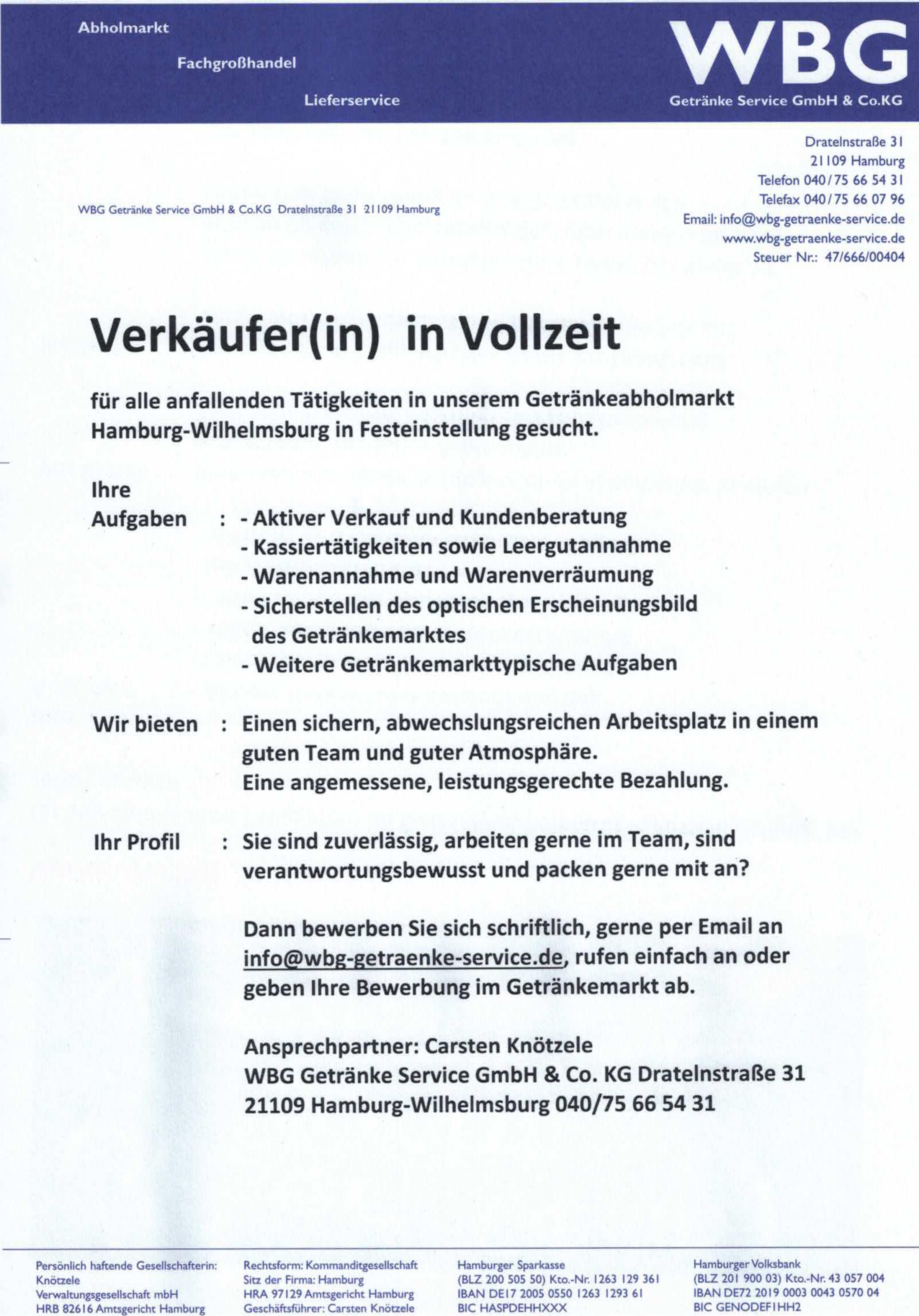 Stellenangebote « WBG Getränke Service GmbH & Co.KG